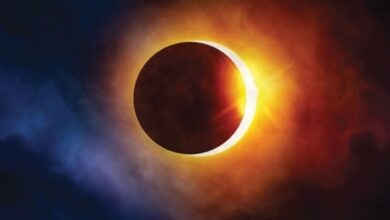 صورة خلال ساعات الكرة الأرضية تشهد كسوف حلقى للشمس..